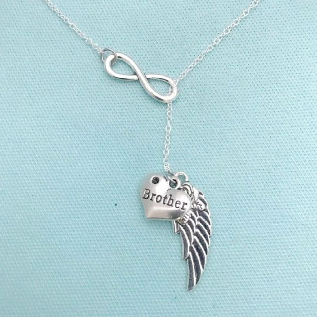 Beautiful Handcraft Brother Guardian Angel Necklace Lariat Style.