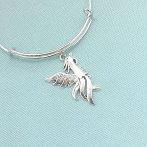 Handcrafted Phoenix in Flight Expendable Charms Bangle.