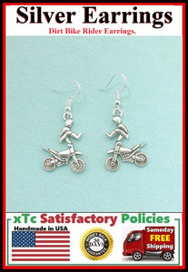 Motocross Dirt bike Rider-2 Silver Dangle Drop Earrings.