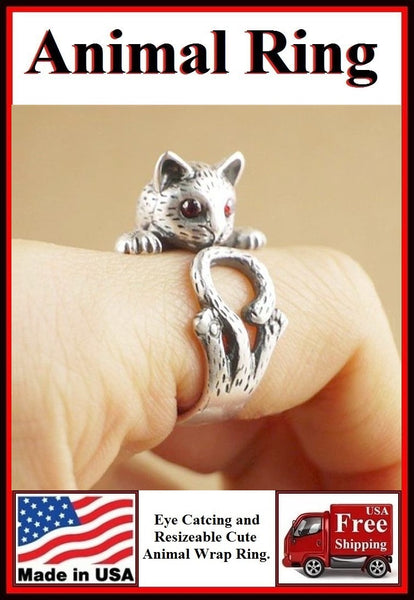 Beautiful Cat with Red Gem Eyes Resizable Finger Ring.