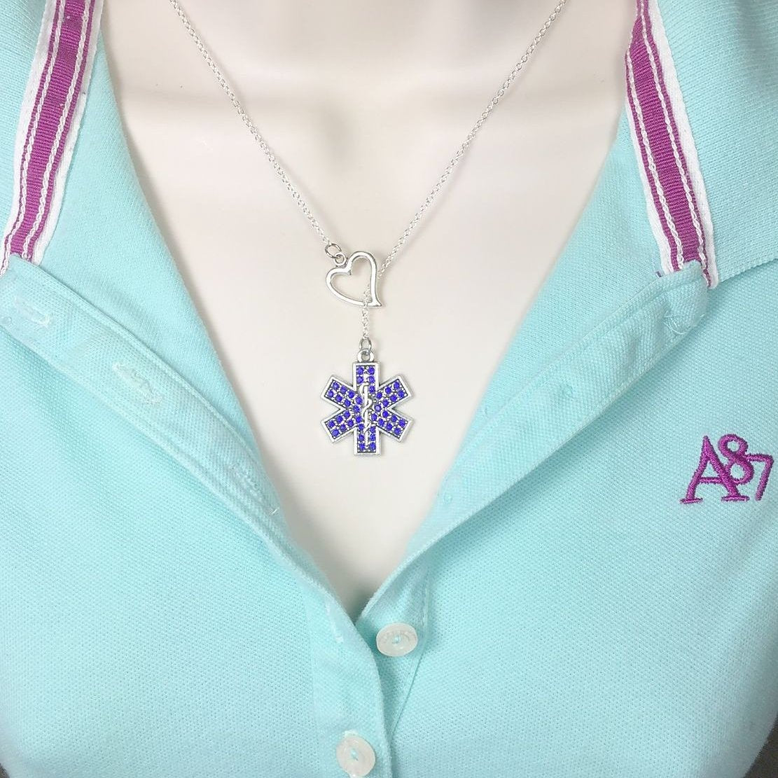 EMT, EMS, Star of Life Charm with Gem Y Necklace Lariat Style.