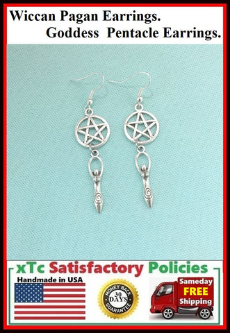 Wiccan Pagan Pentacle Goddess Silver Earrings.