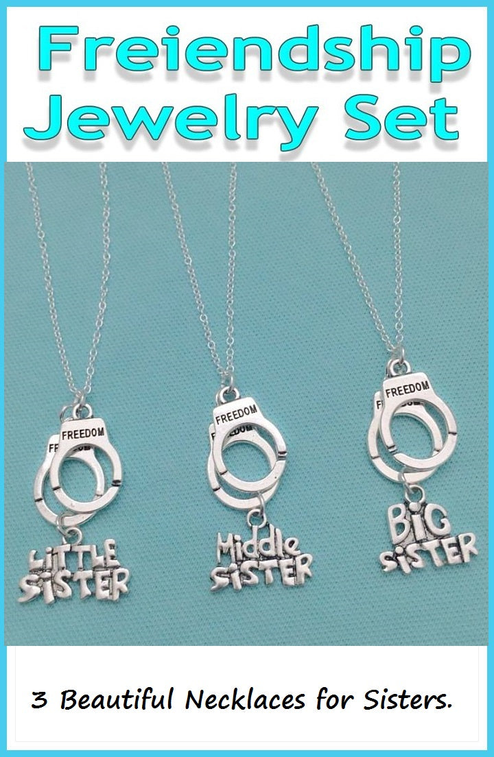 BF Sets : 3 Sister Silver Necklaces for Sisters.