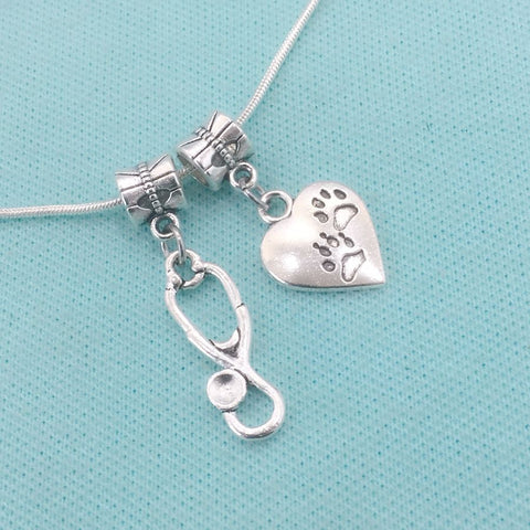 Medical Bracelet Charms : Paw Prints and Stethoscope Charms.