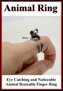 Beautiful Little MOUSE Resizable Finger Ring.