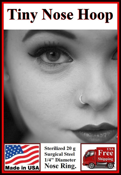 Sterilized TINY 6mm Surgical Steel 20g Nose Hoop.
