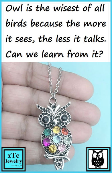 "Beautiful OWL  filled with Cubic Zirconias Charm 18"" Silver  Chain Necklace"