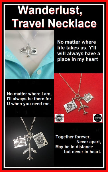 Travel, Long Distance relation, Stewardess Safe Travel Necklace.