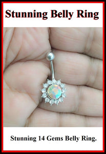 Stunning Dozen AB Color Gems Surgical Steel Belly Ring.