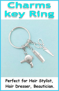 Perfect Charm Key Ring for Hair Stylist, Hair Dresser, Beautician.