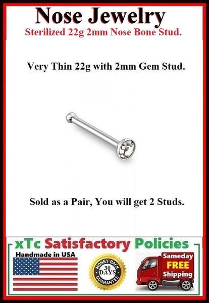 PAIR Sterilized 22gauge 2mm Gem Nose Bone Studs.