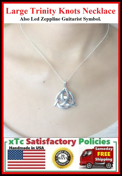 Large Irish Trinity Charm Silver Necklace.