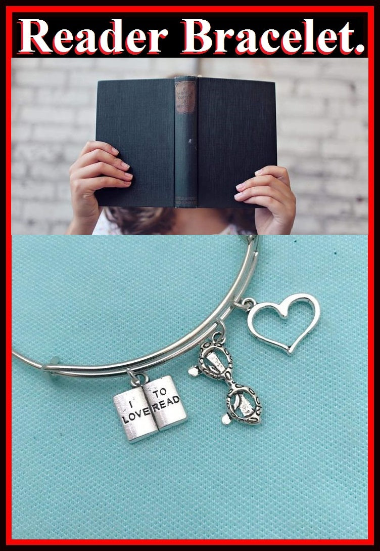 """I Love to Read"", Glasses & Heart Charms Bangle."