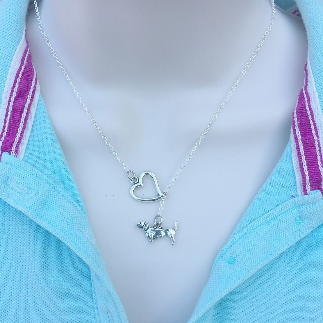 I Heart My Dachshund Dog Handcrafted Necklace Lariat Style