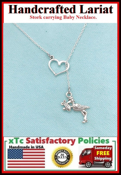 Stork with Baby Handcrafted Necklace Lariat Style.