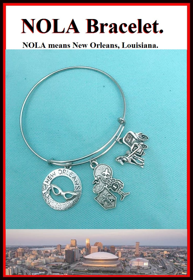 New Orleans (Mardi Gras City) related charms Bangle Bracelet.