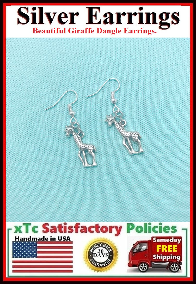 Gorgeous Silver Giraffe Dangle Earrings.