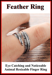 Beautiful FEATHER Resizable Finger Ring.