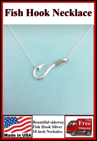 Beautiful Sideway FISH HOOK Silver Charm Necklaces.
