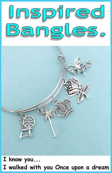 "Sleeping Beauty Inspiration ""AURORA"" Theme Charms Bangle"