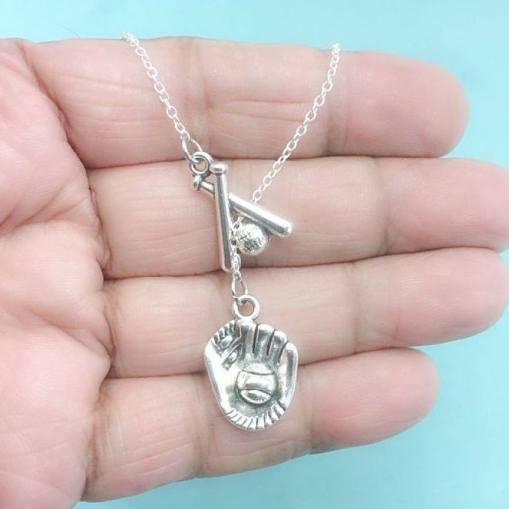 STUNNING BASEBALL Necklace LARIAT Style. Baseball Bats and Baseball Mitt Charms.