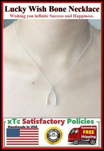 "Good Luck Wishbone Silver Charm 18"" Necklace."