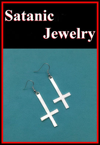 "1-1/2"" Length Antique SILVER UPSIDE down CROSS Earrings"