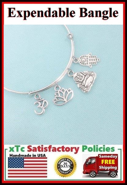 Beautiful  ZEN Theme Charms Expendable Bangle.