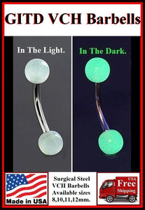 Glow in The Dark Barbells for Vertical Hood Piercing.