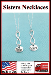 2 Sisters ; Sisters Forever Charms Necklaces Set.