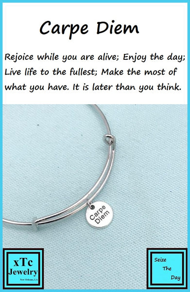 "CARPE DIEM "" Seize the day"" Charm Expendable Bangle Bracelet."