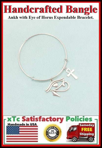 Eye of Horus and Ankh Expendable Charms Bangle.