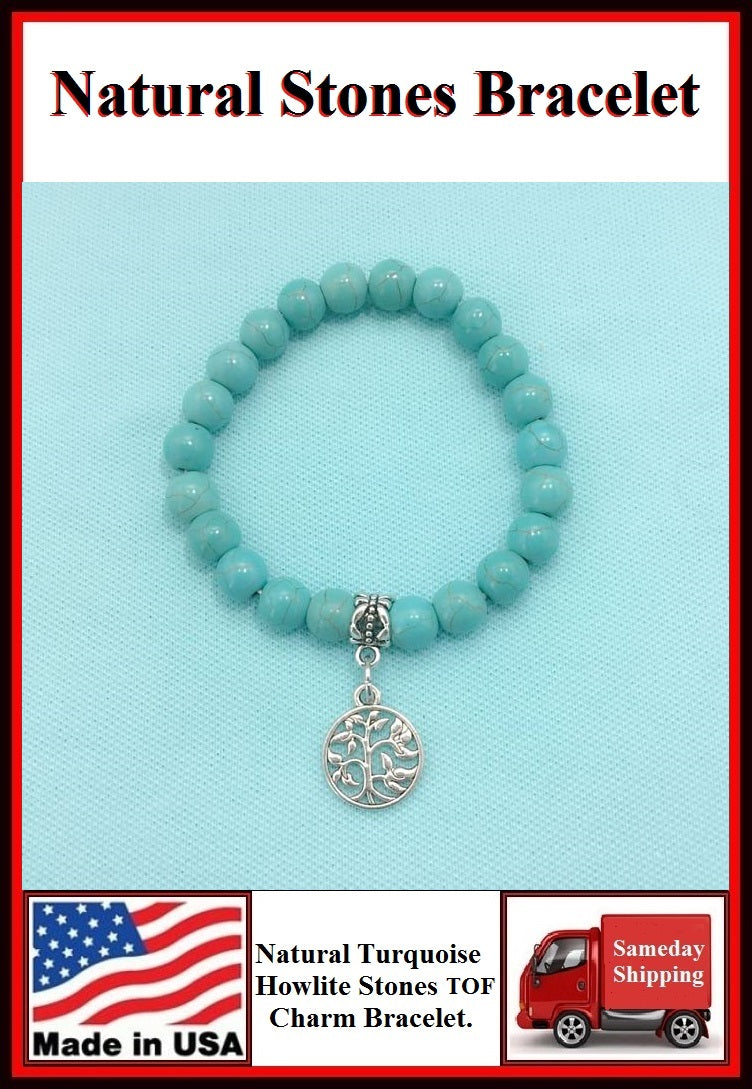 Natural Stones Turquoise & Tree of Life Charm Bracelet.