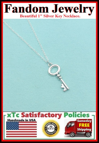 "Beautiful Silver 1"" Fandom Key Charm Necklace."