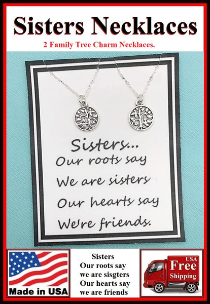 2 Sisters; Family Tree Charms Necklaces Set.