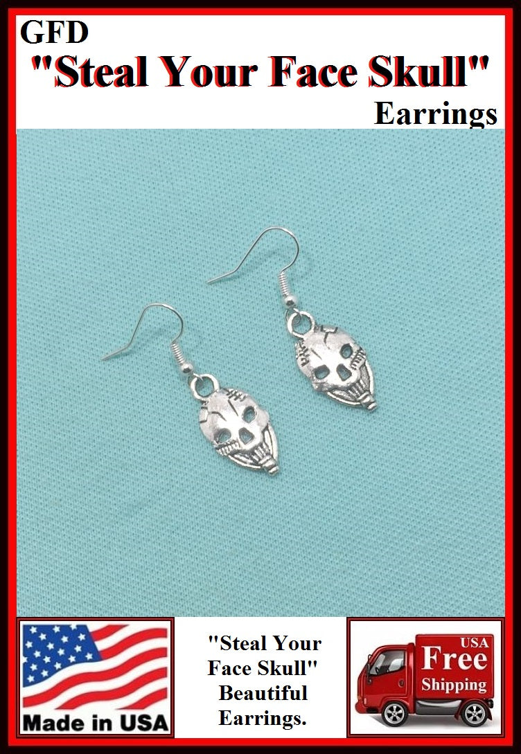 "GFD ""Steal Your Face Skull"" Silver Charms Dangle Earrings."