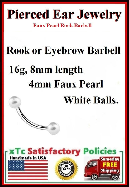 Sterilized Surgical Steel Faux Pearl ROOK Barbell.