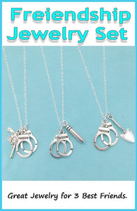 BF Sets : 3 Handcuff Silver Necklaces for Friends.