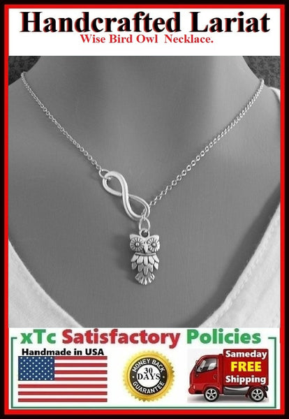 Stunning Owl Handcrafted Necklace Lariat Style.