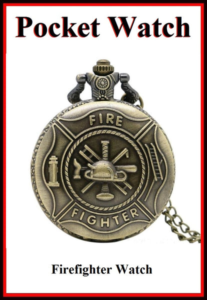 "Firefighters Logo Bronze Locket Quartz Watch 30"" Necklace."