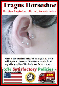 "Sterilized Surgical Steel TRAGUS Piercing Smallest 6mm ""U"" Horseshoe."