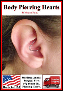Sterilized Pair of Body Piercing 16 g HEARTS.