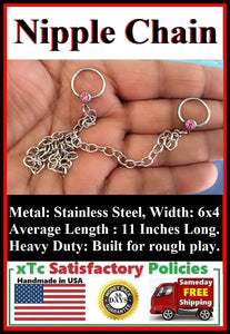 "Sterilized Surgical Stainless Steel Nipple Chain. 14g, 1/2"" CBR."
