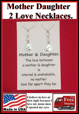 2 Mother n Daughter Love Infinity Charms Necklaces Set.