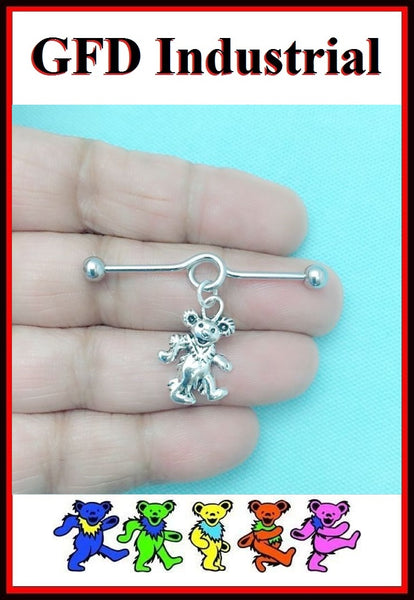 Grateful Dead Dancing Bear Charm Surgical Steel Industrial.