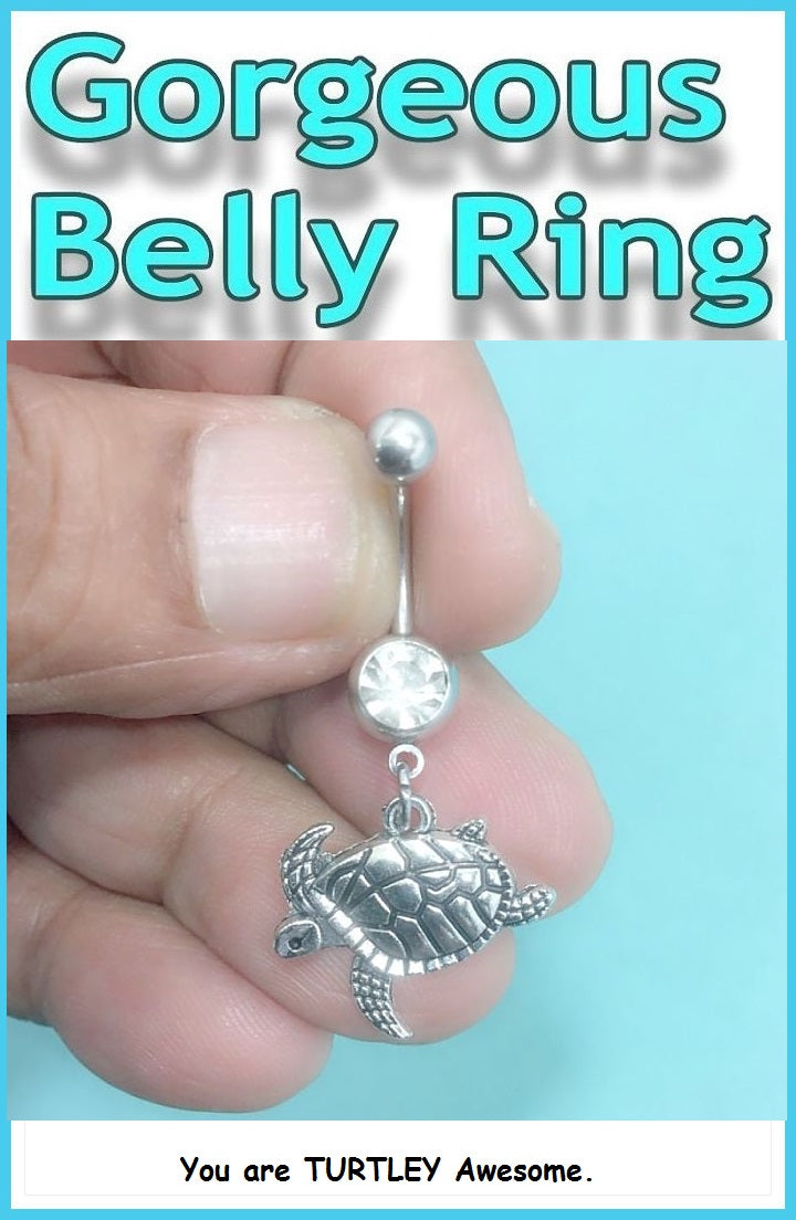 Beautiful Turtle Surgical Steel Handmade Belly Ring