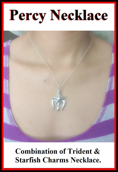 Percy Jackson Movie's Trident & Starfish Charms Necklace.
