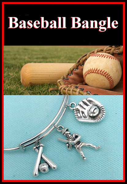 America's Game Baseball Charms Bangle Bracelet.