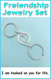 2 Friendship Fish Hook Keychain Set. BFF, Lovers Gift.