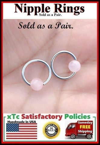 "PAIR Sterilized Surgical Steel 1/2"" Nipple Rings with Rose Quartz Balls."
